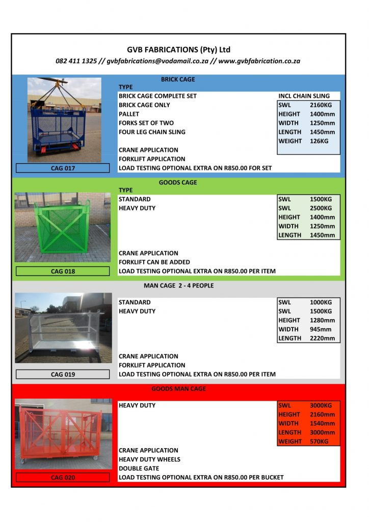Man Lifting Cages - Spec Sheet