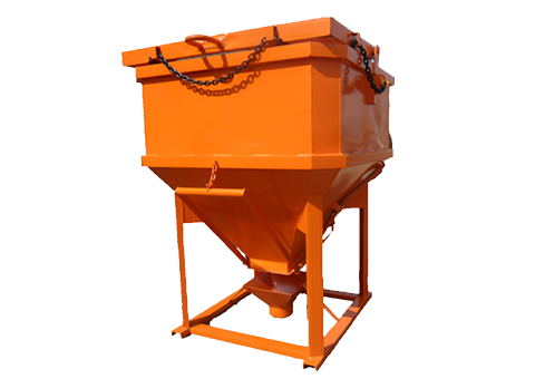 Square-Shaped-Side-Discharge-Bucket-Orange, Conveyor Systems, Mining Equipment, Safety Cages